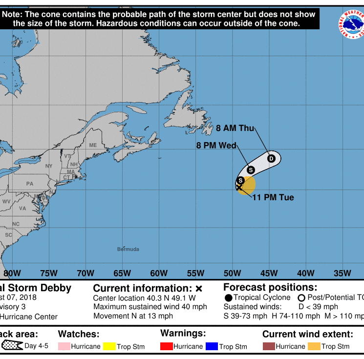 Subtropical Storm Debby forms in Atlantic; Storm warnings issued for Hawaii as hurricane approaches