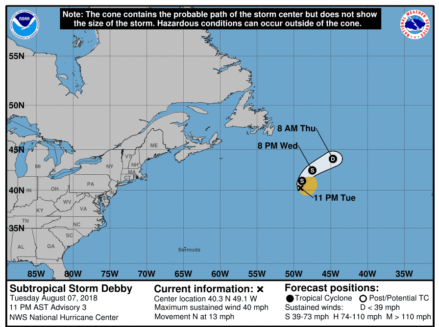Projected path of Subtropical Storm Debby as of 11 p.m. Tuesday, Aug. 7, 2018.