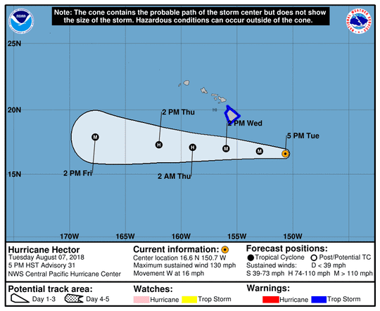 Projected path of Hurricane Hector as of 11 p.m. Tuesday, Aug. 7, 2018.