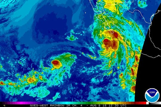 Tropical conditions in Pacific Aug. 8, 2018.
