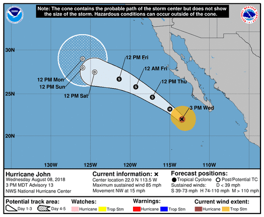 Projected path of Hurricane John as of 5 p.m. Wednesday, Aug. 8, 2018.