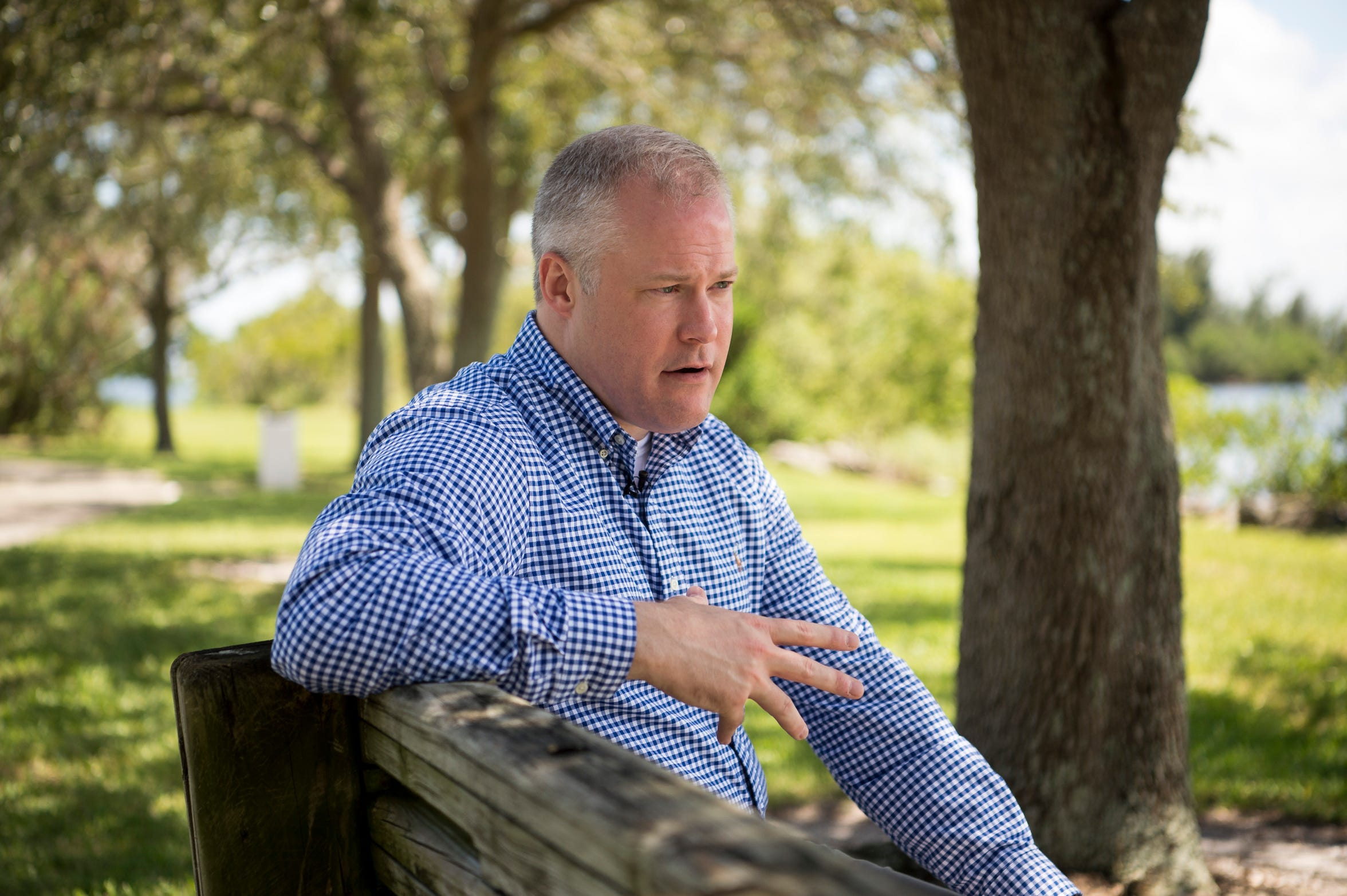 "Dan Green is interviewed Aug. 3, 2018, at Veterans Memorial Island Sanctuary in Vero Beach. ""I found I really liked the work,"" said Green, who has served several tours in the Middle East with the Navy reserves. ""And because the war has gone on for so long, I have some corporate memory for things."""