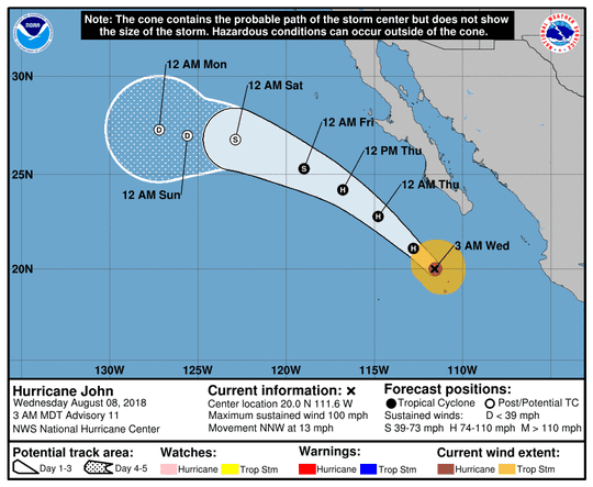 Hurricane John 5 a.m. Aug. 8, 2018