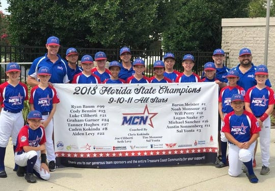 Players and coaches from the Little League 11U Florida State Champions hold their team banner and send thanks to the Treasure Coast Community and their team sponsors for their support.
