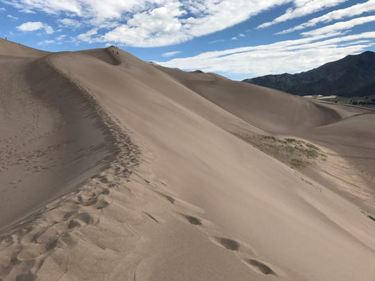 Great Sand Dunes National Park in Colorado has the tallest dunes in North America. Hiking up the dunes and sand sledding or sand boarding down the dunes are popular ways to enjoy the park.