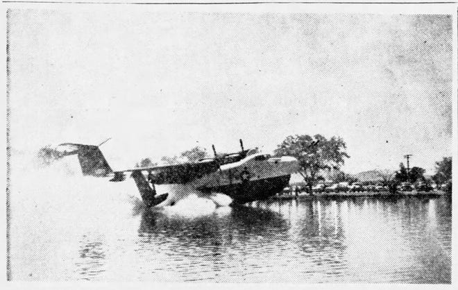 BIG PLANE - LITTLE LAKE - Shown as it settles into the waters of Ascarate Lake is a big two-engined P-5-M Martin Marlin flying boat that was forced to land in the lake after developing engine trouble while en route from San Diego, Calif., to Pensacola, Fla. The pilots said the craft will require jet assist devices to enable it to take off when the engine is repaired.