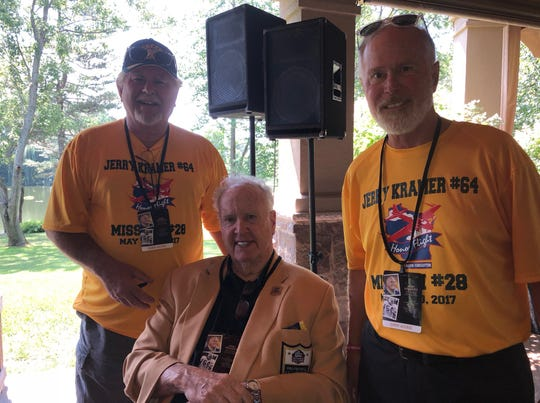 Jim Campbell (left), Paul Hornung (center) and Mike Thompson (right) met at a private party offered by the Green Bay Packers.