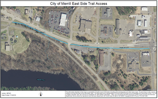 A map of where the River Bend Trail will be extended in spring 2019, using TIF money from the city.