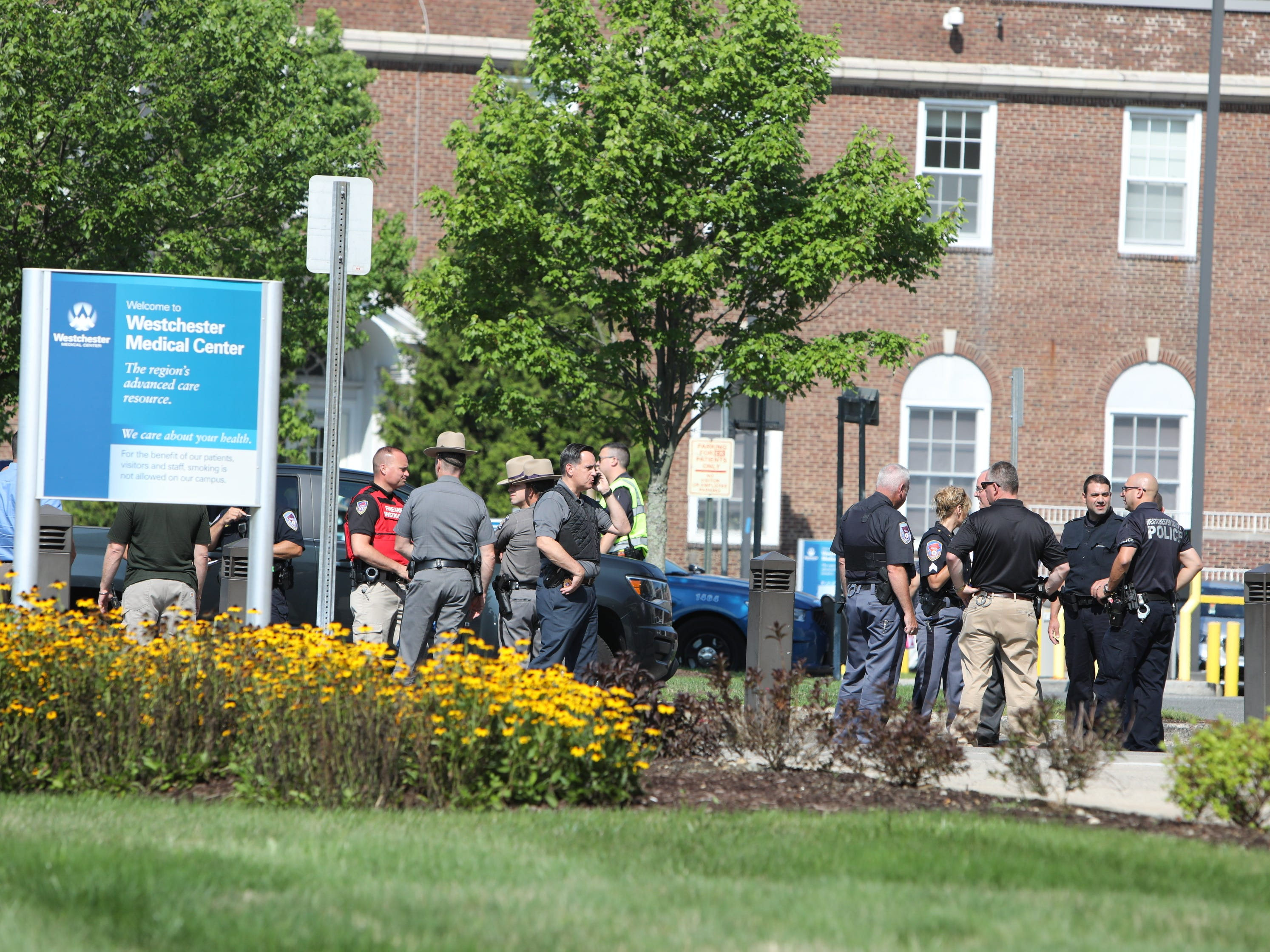 Police at Westchester Medical Center after a report of shots fired in the hospital in Valhalla, Wednesday, Aug. 8, 2018.