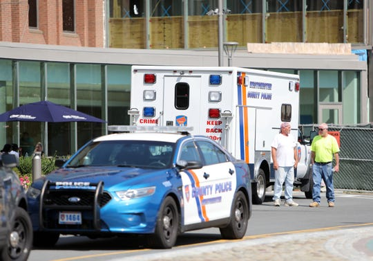 Police at Westchester Medical Center after a report Wednesday of shots fired in the hospital.