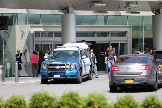 Police at Westchester Medical Center after a report of shots fired in the hospital in Valhalla, Aug. 8, 2018.