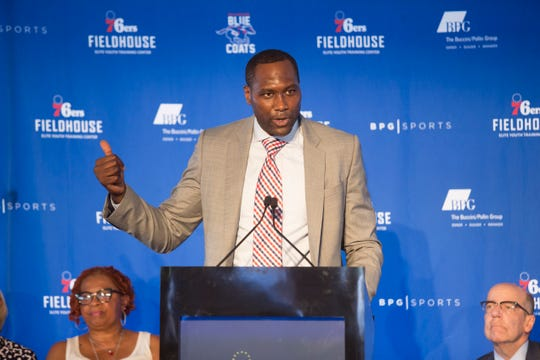 Delaware Blue Coats General Manager Elton Brand speaks during the groundbreaking celebration for the 76ers Fieldhouse Wednesday near the Riverfront. The sports complex will be the new home for the 76ers NBA G League team the Delaware Blue Coats.
