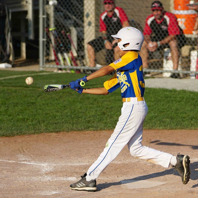 After getting only 3 hits in an 8-2 tournament-opening loss against Pennsylvania on Saturday, the bats on the Camden-Wyoming Little League team in the 2018 9-10 Eastern Region Baseball Tournament came alive with 14 hits Monday in a 13-3 win over New York.