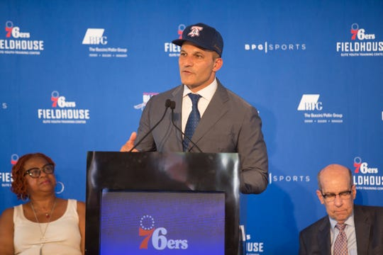 Co-President of the Buccini/Pollin Group Robert Buccini speaks during the groundbreaking celebration for the 76ers Fieldhouse Wednesday near the Riverfront. The sports complex will be the new home for the 76ers NBA G League team the Delaware Blue Coats.