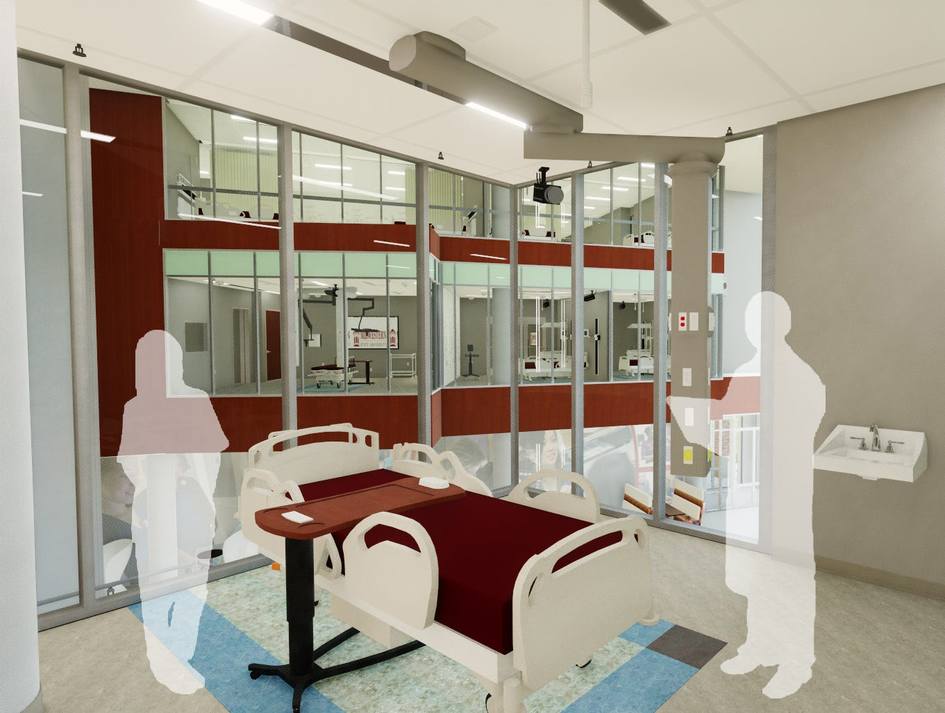 An artist's rendering of a simulation room in the Midwestern State University Health Sciences and Human Services building currently under construction.