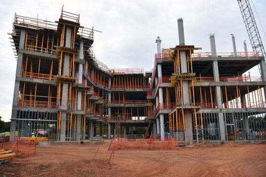 The front elevation of the Midwestern State University Health Sciences and Human Services building. The four-story building will be completed in the summer of 2019.