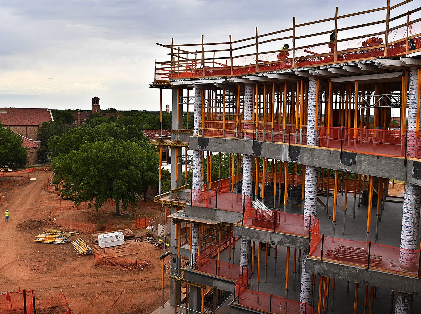 The view looking east at the tower of the Hardin Administration Building from the fourth floor of the Midwestern State University Health Sciences and Human Services building under construction.