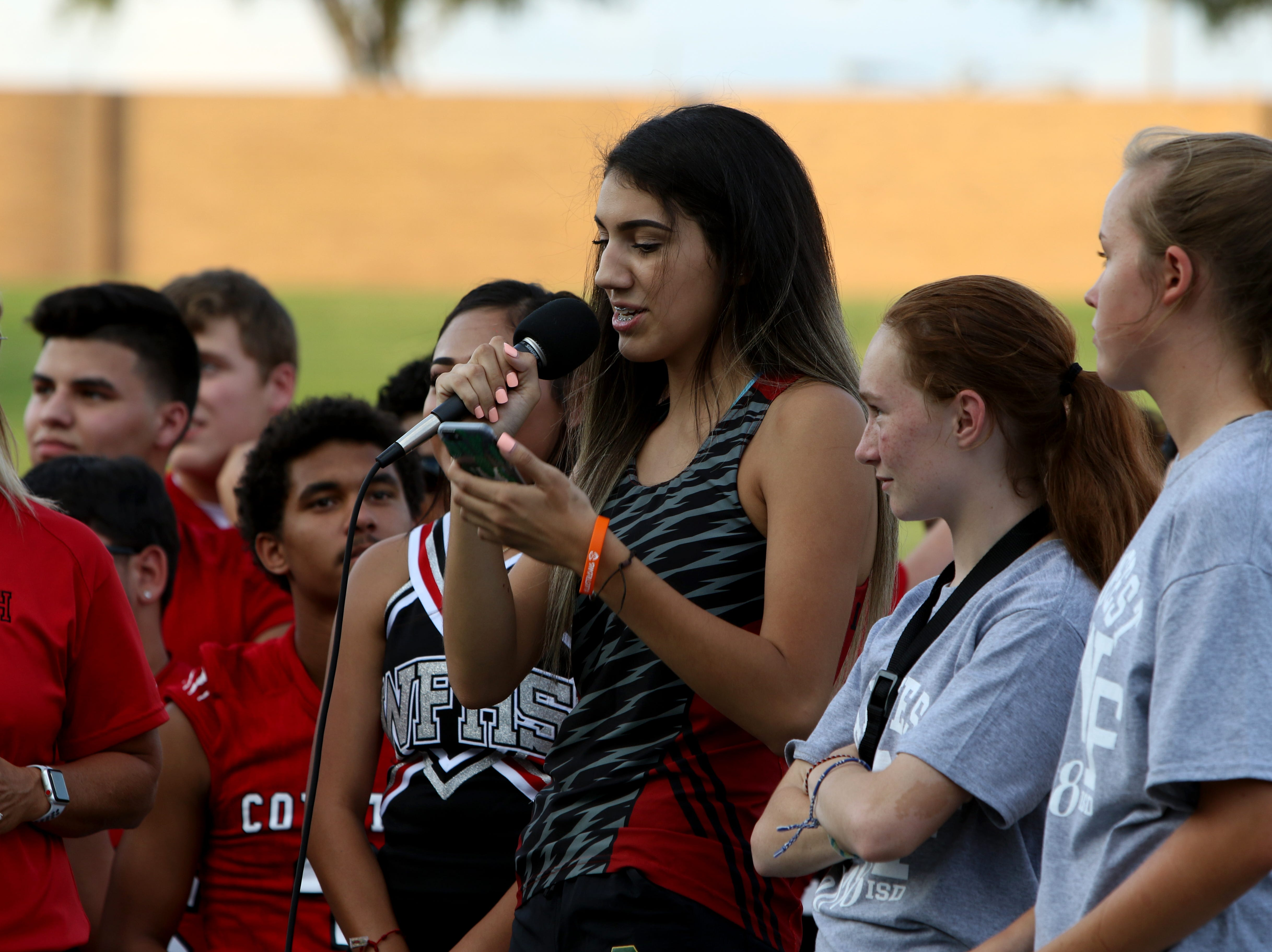 Members of the Wichita Falls High School cross country team speak to the crowd at the WFISD Fan Fest Tuesday, Aug. 7, 2018, at Memorial Stadium.