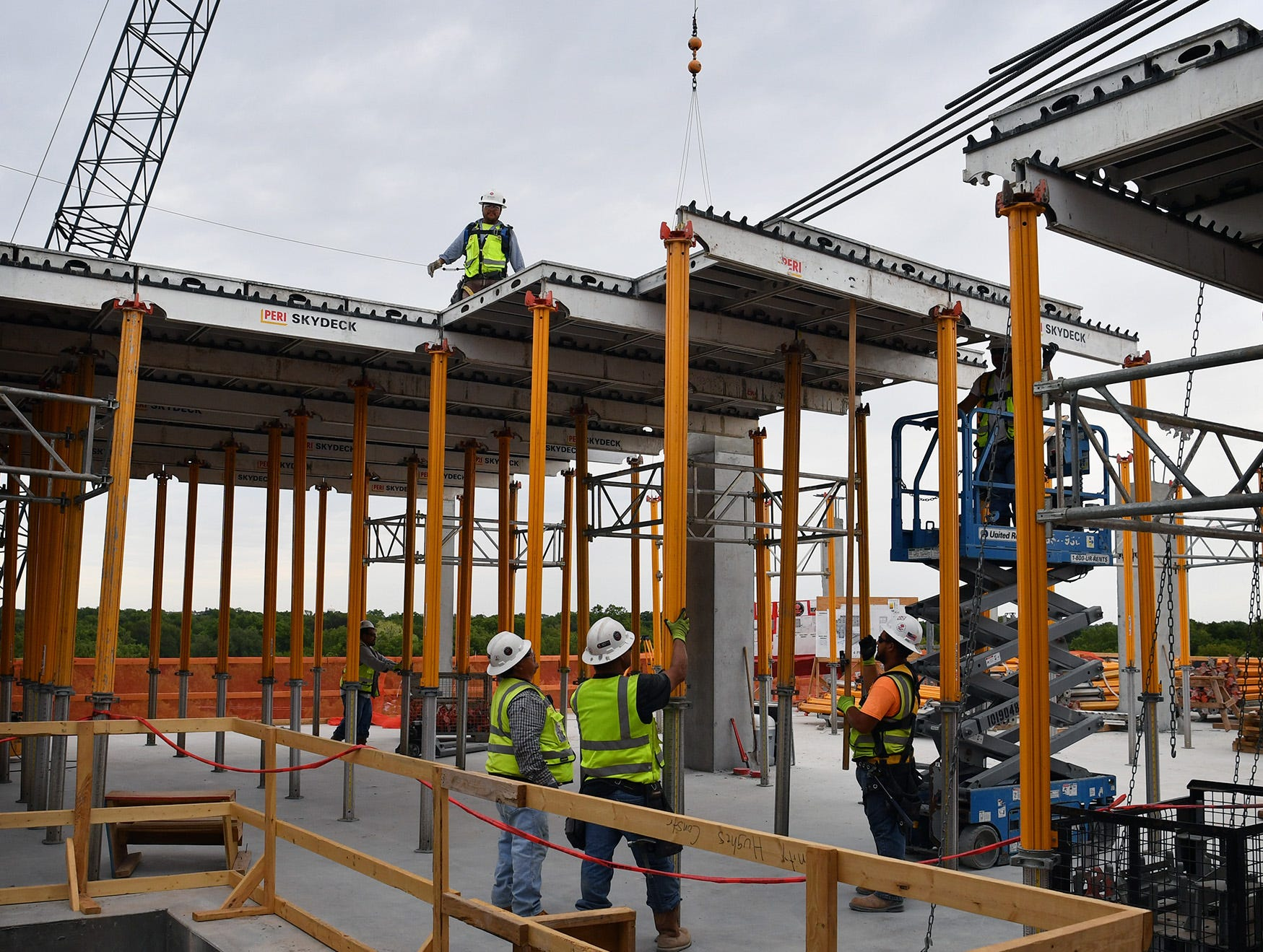 Concrete forms are installed for the roof level of the Midwestern State University Health Sciences and Human Services building being constructed on the campus.