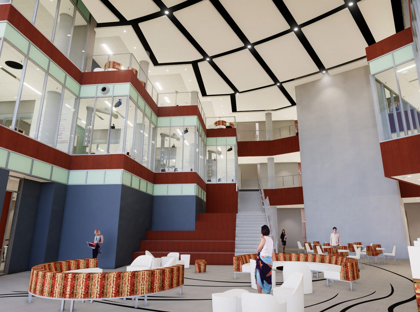 Artist's rendering of the East lobby of the Health Sciences and Human Services building under construction at Midwestern State University.