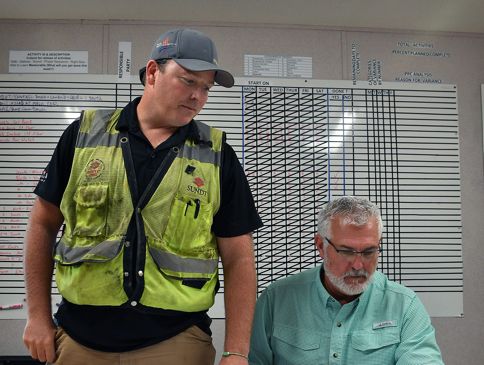 Supervisor Patrick Benedict, left, and Charlie Taylor, project supervisor, look of building plans for the Midwestern State University Health Sciences and Human Services building.