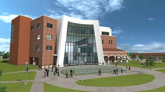 An artist's rendering of the front of the Midwestern State University Health Sciences and Human Services building being constructed on the northwest side of campus.