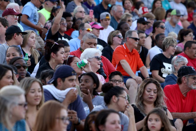 Fans fill the stands at the WFISD Fan Fest Tuesday, Aug. 7, 2018, at Memorial Stadium.