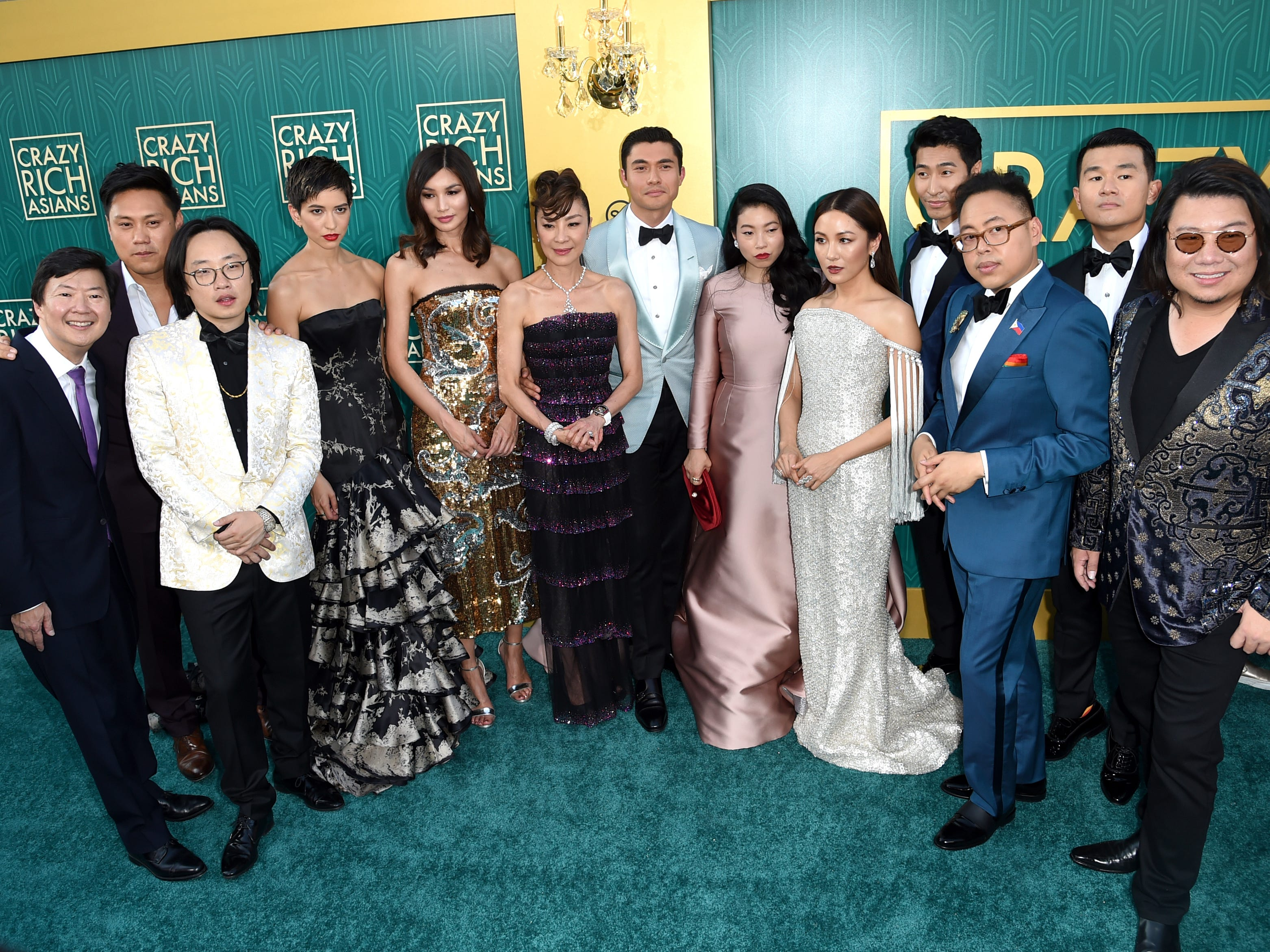 "The cast and crew of ""Crazy Rich Asians"" gathered together for a group shot at the TCL Chinese Theatre on Aug. 7, 2018."