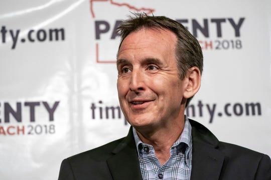 Former Minnesota Gov. Tim Pawlenty speaks at a news conference in St. Paul, Minn., May 31, 2018.