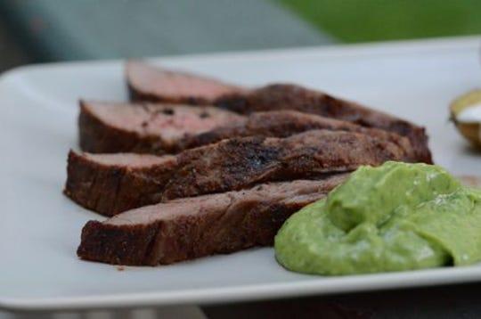 Steak with avocado sauce