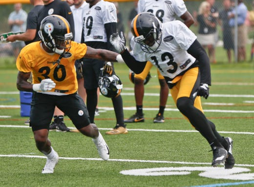 acae5c40d Pittsburgh Steelers wide receiver James Washington (13) works on a drill  with defensive back