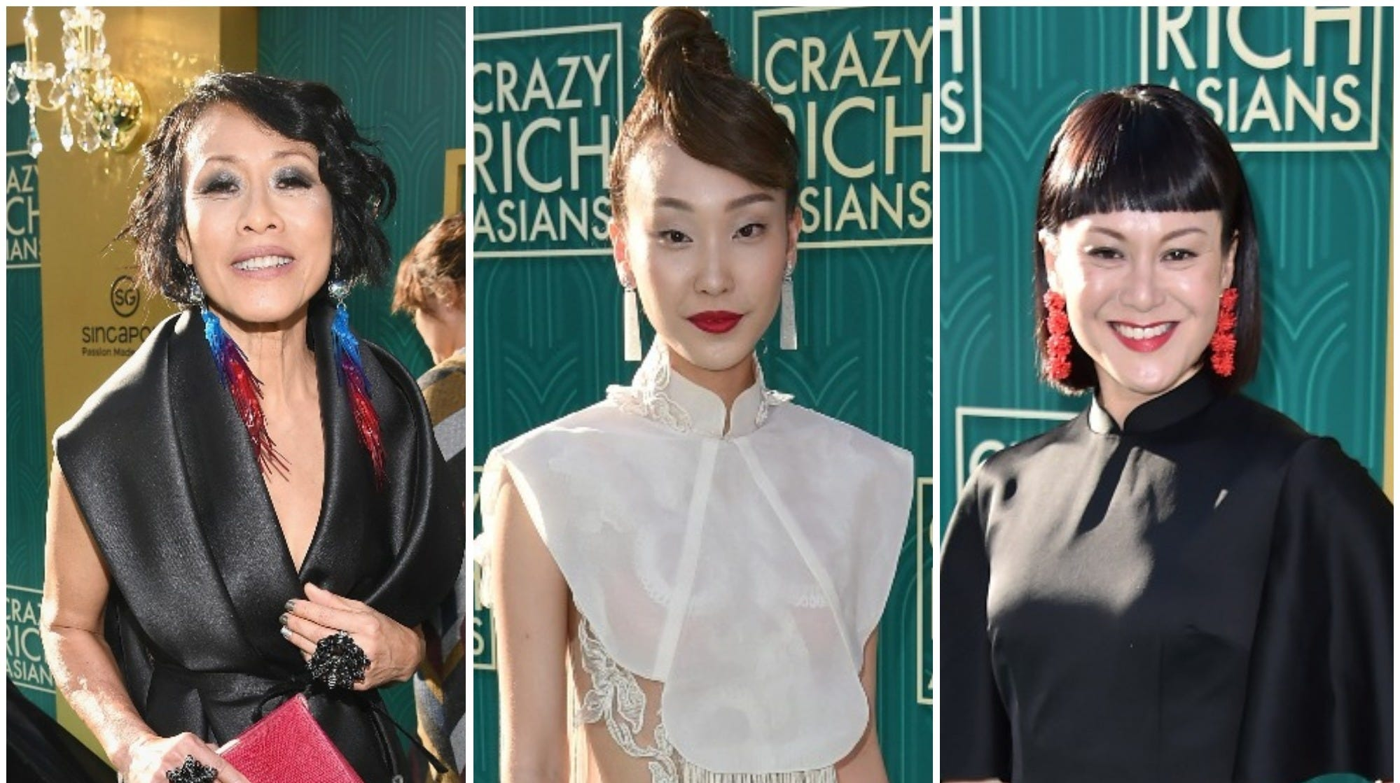 """Tan Kheng Hua, Constance Lau and Janice Koh are three of the """"Crazy Rich Asians"""" stars who opted to wear outfits by Asian designers at their film's premiere in Hollywood."""