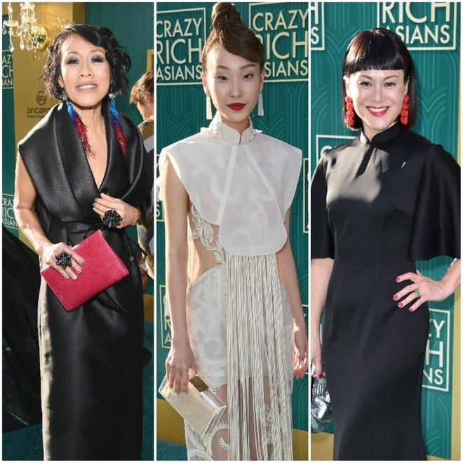 "Tan Kheng Hua, Constance Lau and Janice Koh are three of the ""Crazy Rich Asians"" stars who opted to wear outfits by Asian designers at their film's premiere in Hollywood."