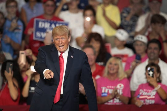 President Donald Trump speaks at a rally to show support for Ohio Republican congressional candidate Troy Balderson on Aug. 4, 2018, in Lewis Center, Ohio.