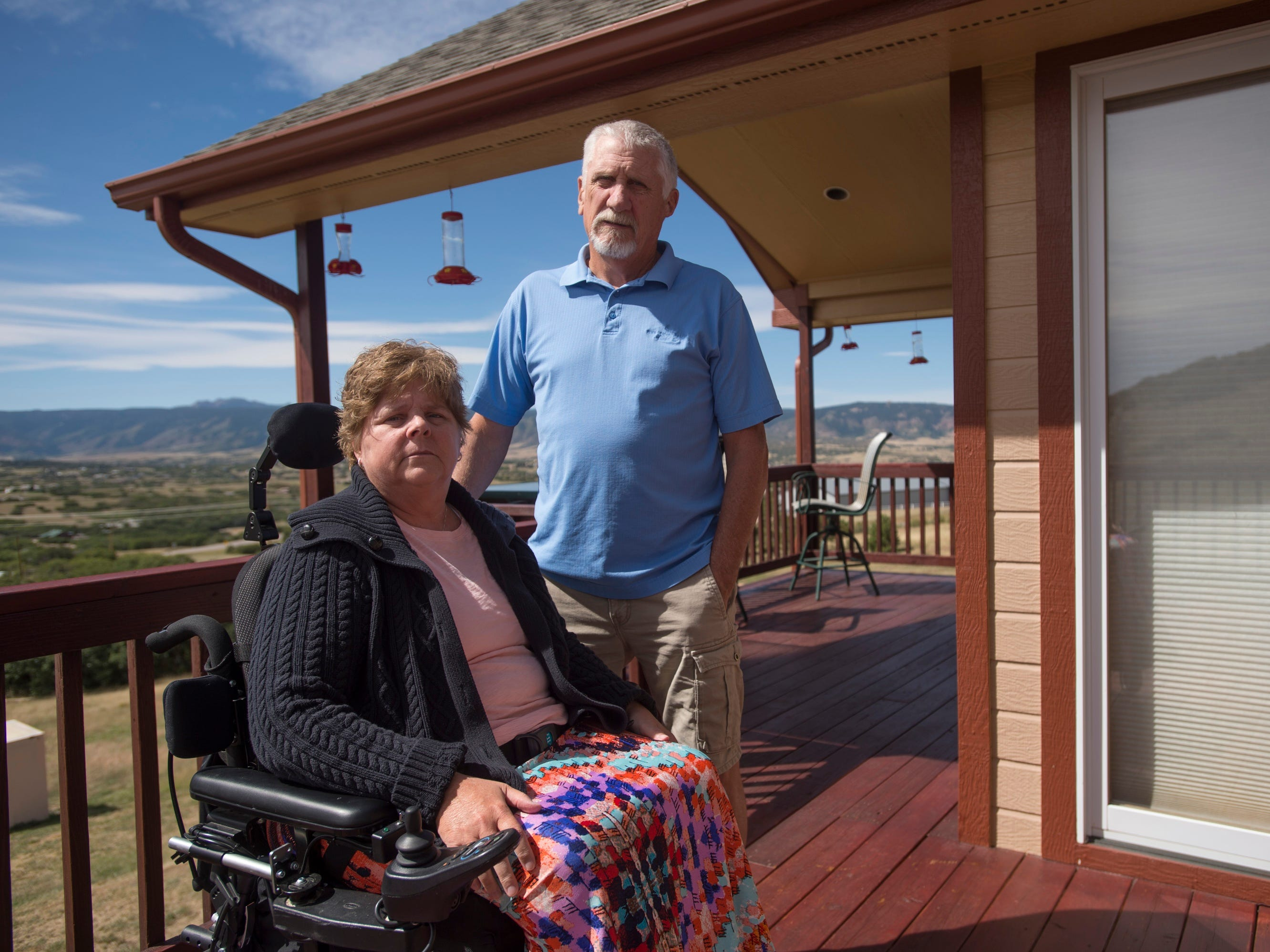 Robbin Smith with her husband Ed at their home in Castle Rock, Colorado.