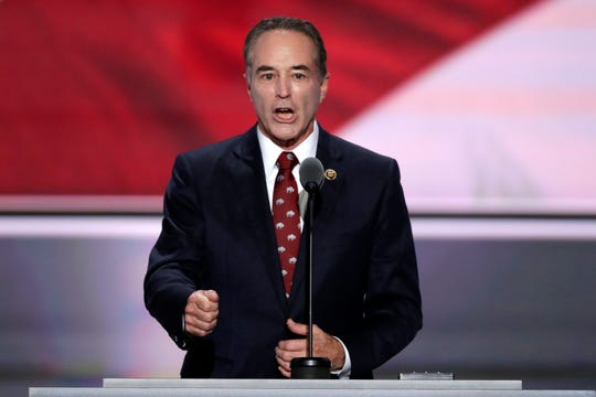 In this July 19, 2016 file photo, Rep. Chris Collins, R-NY. speaks  at the Republican National Convention in Cleveland.