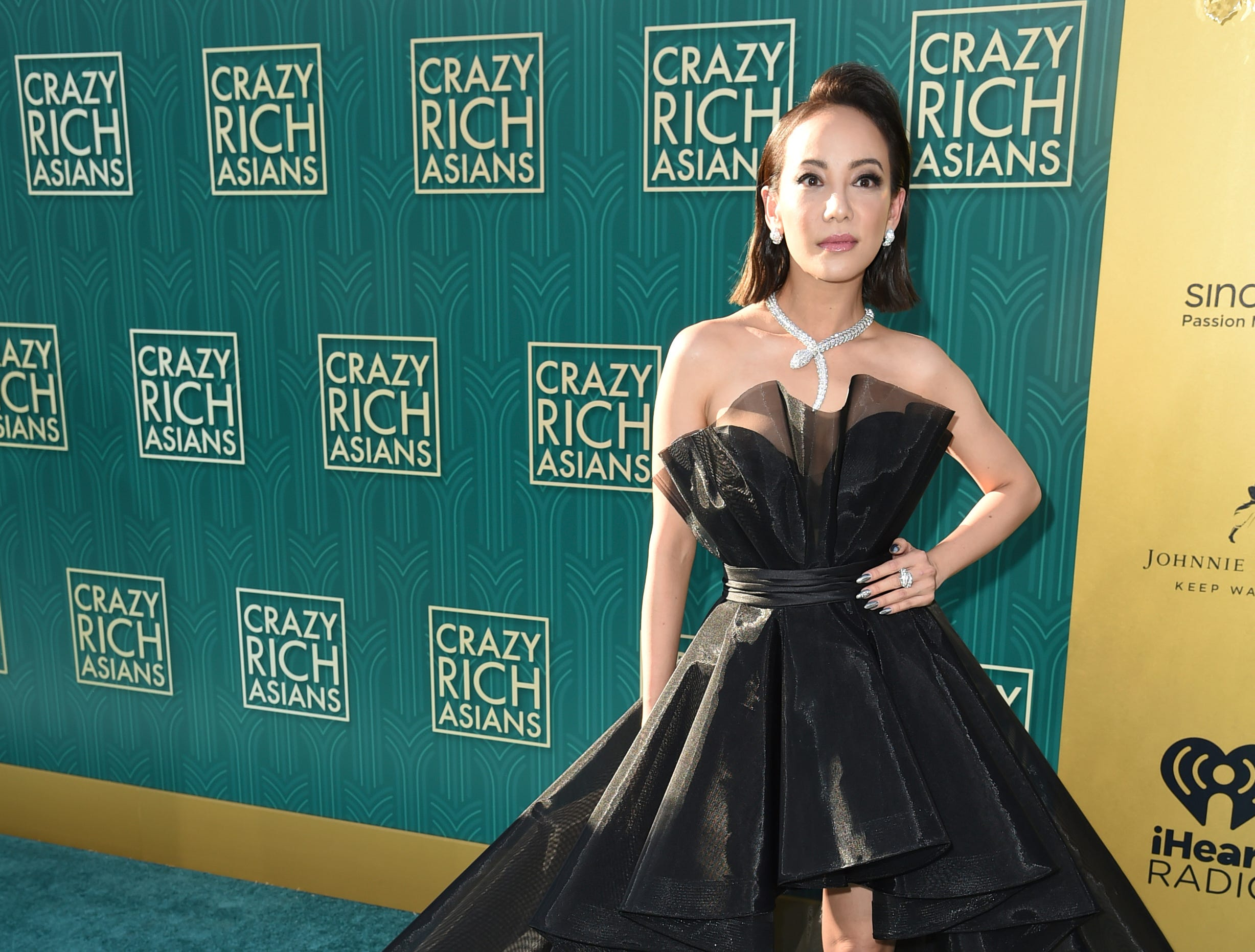 "Fiona Xie looked straight out of a fashion magazine at the premiere of ""Crazy Rich Asians."" She plays Hong Kong ""soap opera"" star in the film."