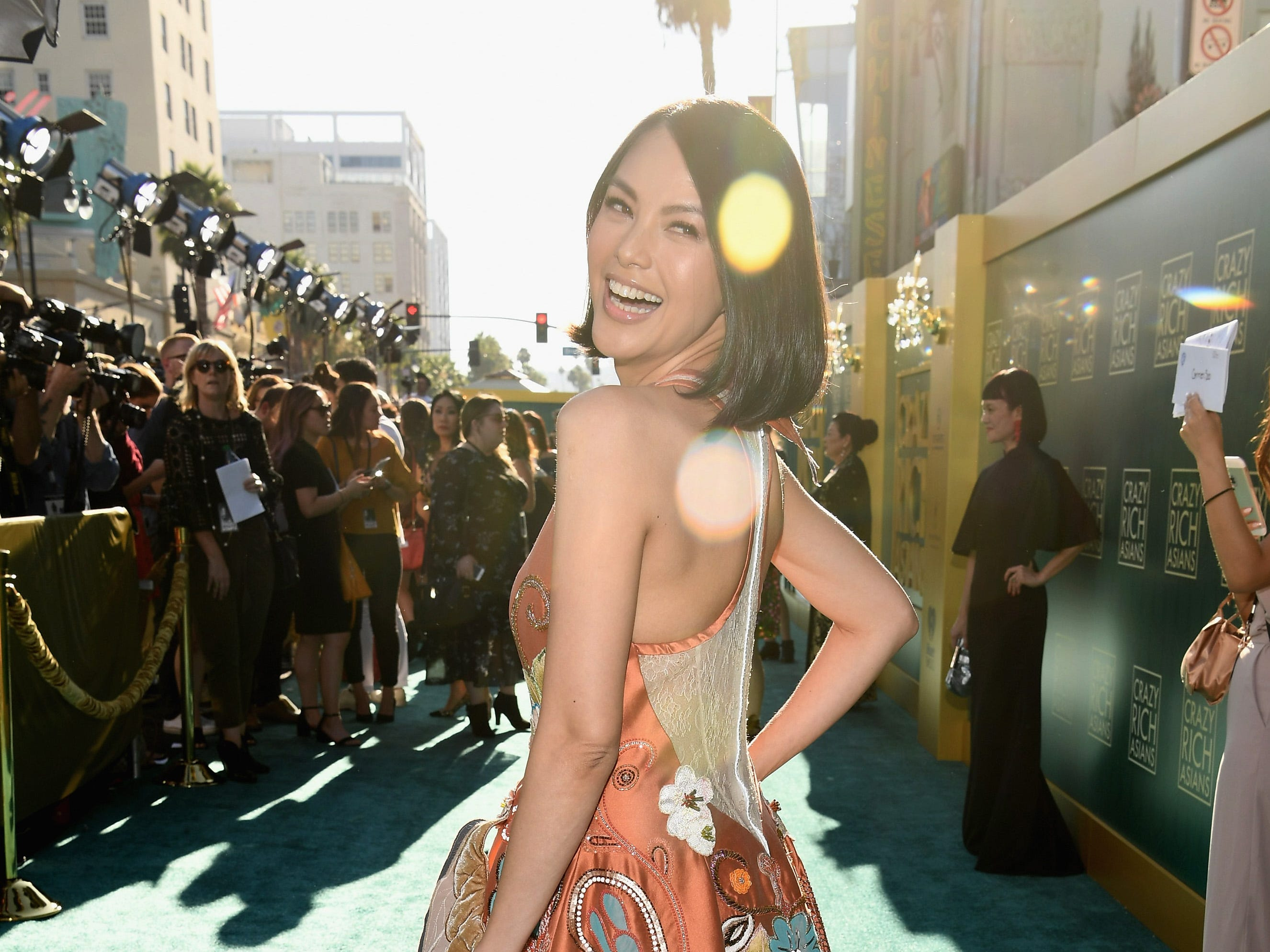 Carmen Soo brought the a bold pattern to the red carpet.