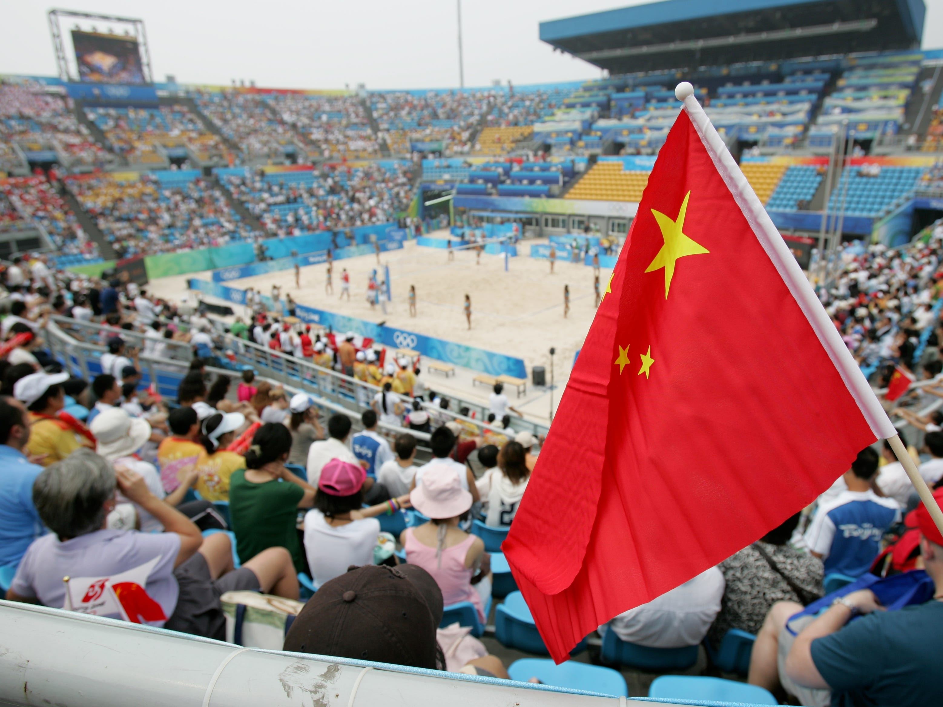 The beach volleyball venue in 2008.