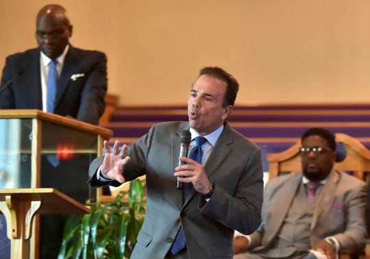 Bridgeport Mayor and Connecticut Democratic gubernatorial candidate Joe Ganim, center, answers questions during a forum sponsored by the Joshua Generation Clergy Association at the New Trinity Temple Church of God in Christ in New Haven, Conn., Aug. 6, 2018.