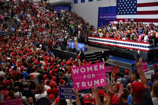President Donald Trump speaks during a rally at Olentangy Orange High School in Lewis Center, Ohio, on Aug. 4, 2018.