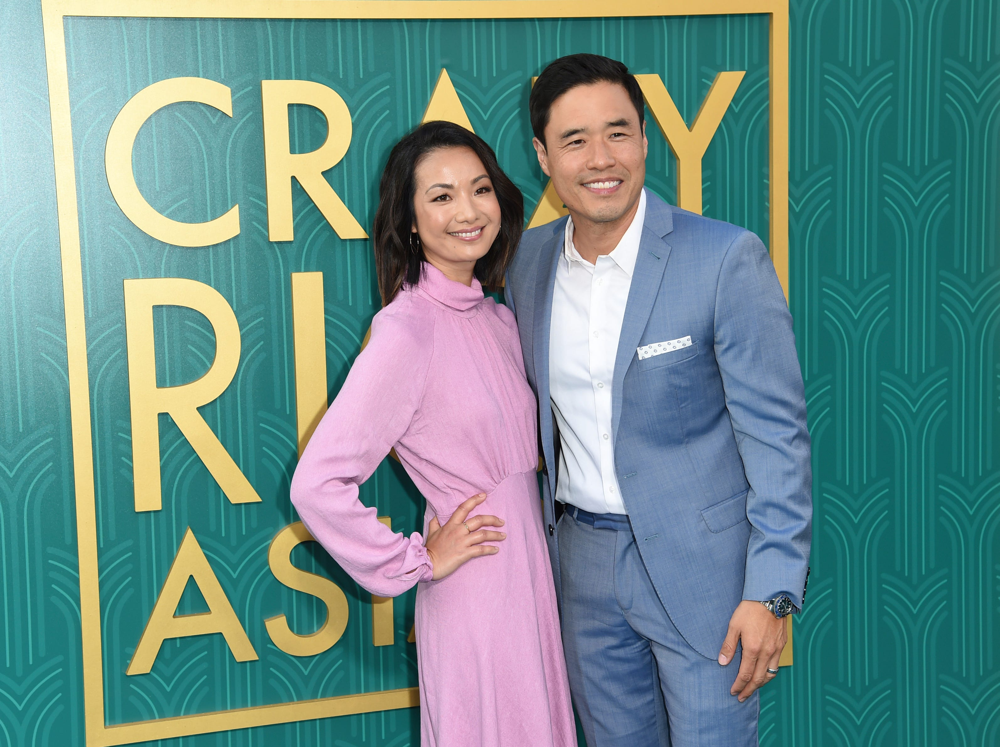 "Jae Suh Park (left) and ""Fresh Off the Boat"" star Randall Park brought pastels to the red carpet."