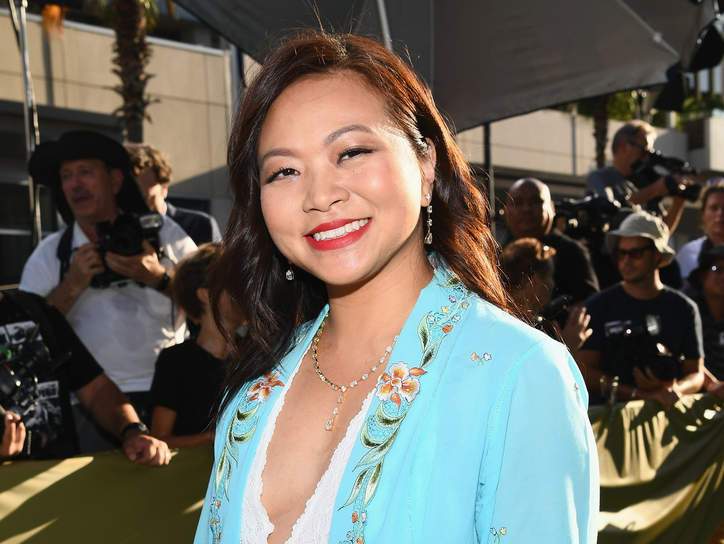 Screenwriter Adele Lim wore a bold blazer.