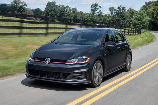 The 2018 Volkswagen Golf GTI. The car packs a turbocharged 220-horsepower engine, and you can get it with a six-speed manual or a six-speed dual-clutch automatic.