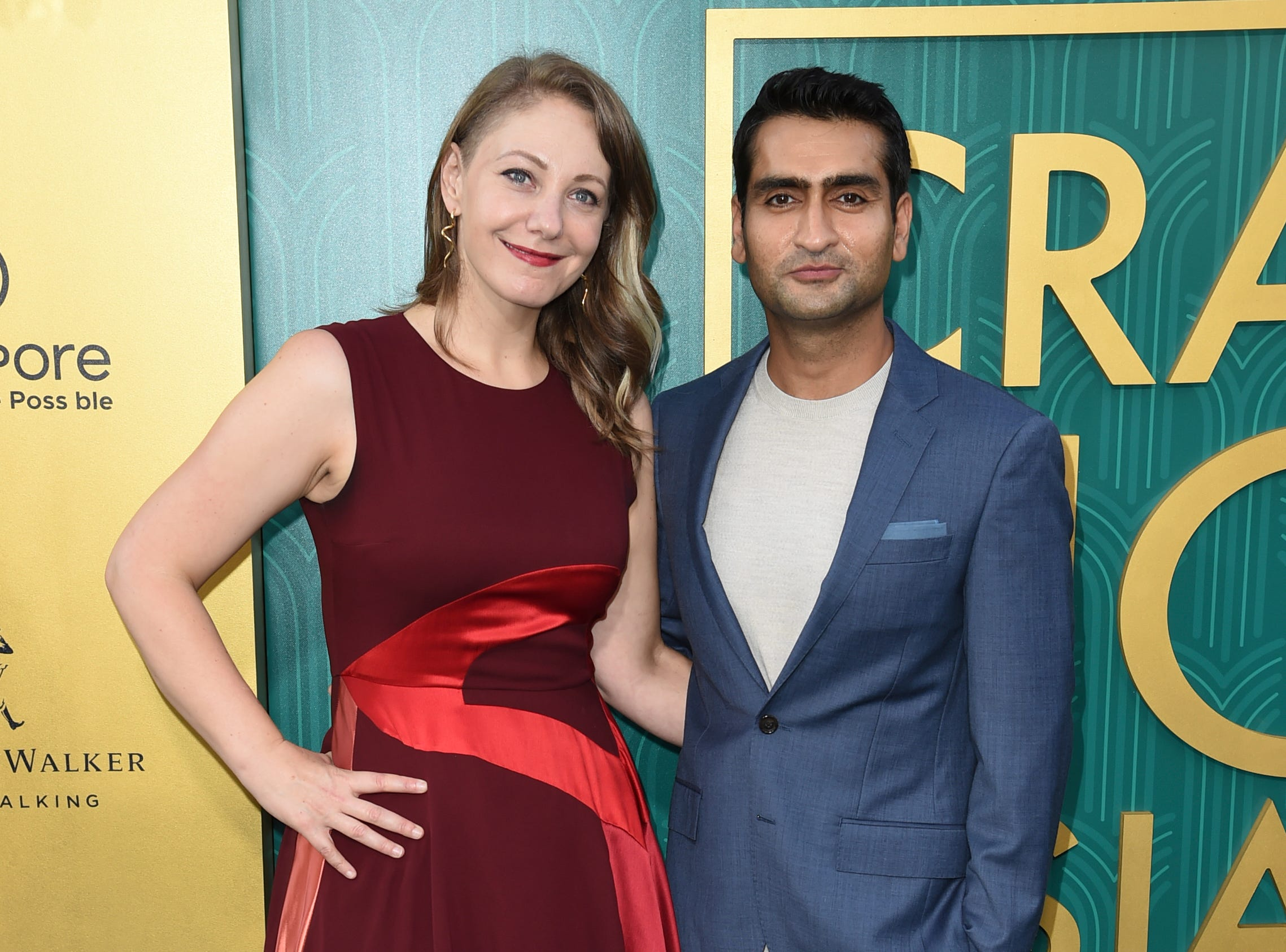 "Emily V. Gordon (left) and Kumail Nanjiani posed at the premiere of ""Crazy Rich Asians."""