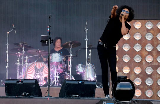 William Du Vall of US rock band Alice In Chains performs at the 12th Alive Festival in Oeiras, near Lisbon on July 14, 2018.
