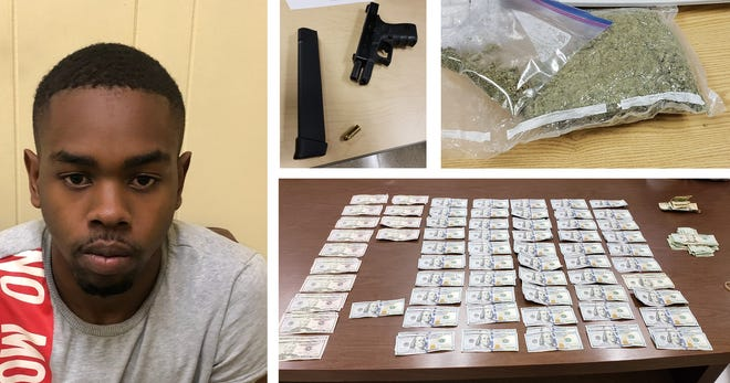 Reginald D. Wooding Jr. is accused of bringing possessing one pound of marijuana, a scale, more than $15,000 and a loaded handgun in a car he hoped to use to complete a state driving test.