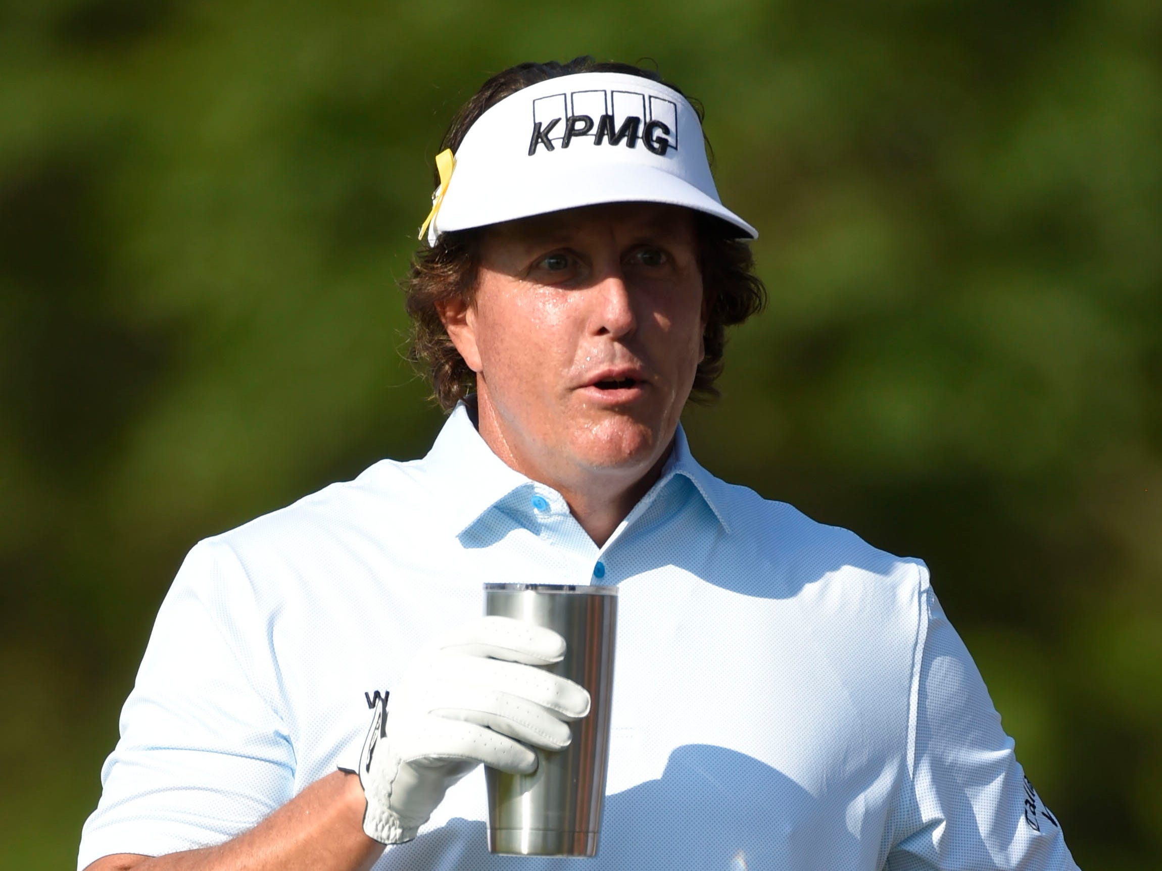 Phil Mickelson on the driving range.