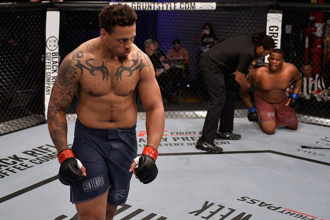 Greg Hardy celebrates his win at Dana White's Contender Series 16.