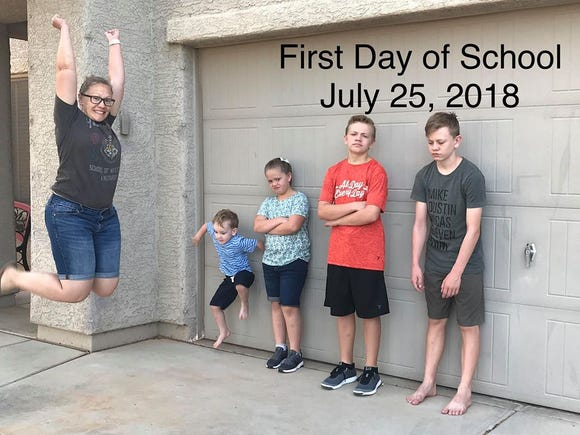 Corie Gibson of Red Rock, Ariz. is excited her children are returning to school. Her oldest children - not so much.